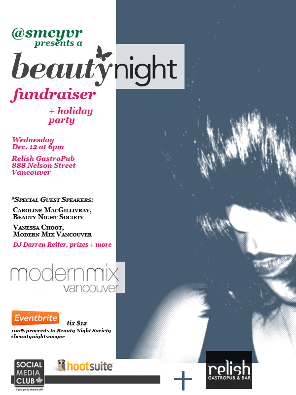 smcyvr beauty night fundraiser and holiday party wed. dec 12 at RelishGastroPub 6pm