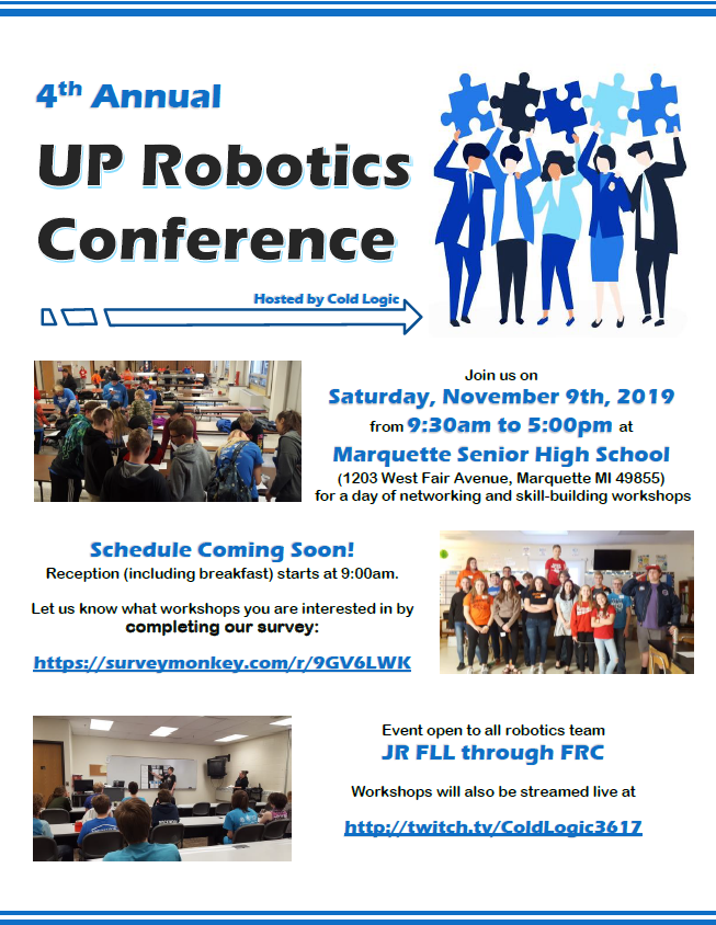 Event Poster - Join us on  Saturday, November 9th, 2019 from 9:30am to 5:00pm at Marquette Senior High School (1203 West Fair Avenue, Marquette MI 49855) for a day of networking and skill-building workshops