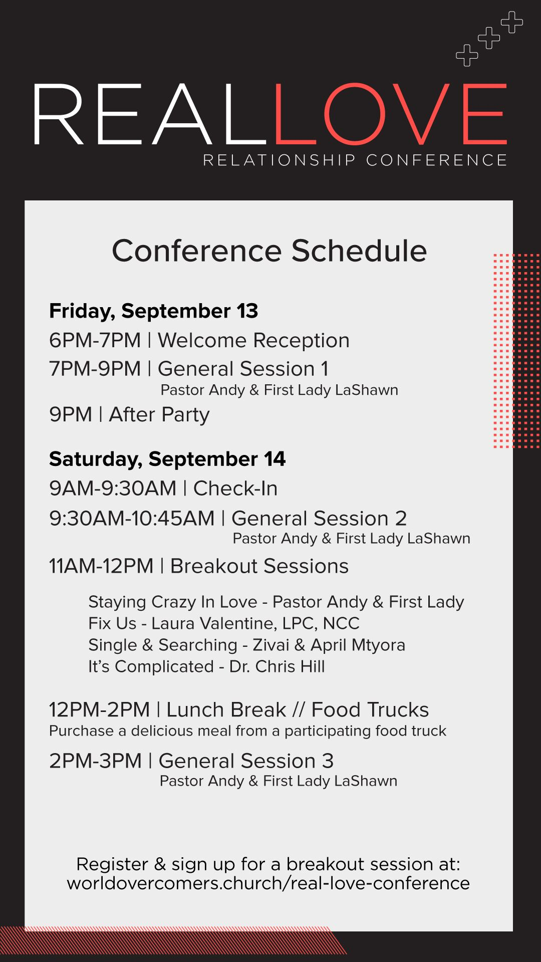 REAL LOVE CONFERENCE SCHEDULE 2019