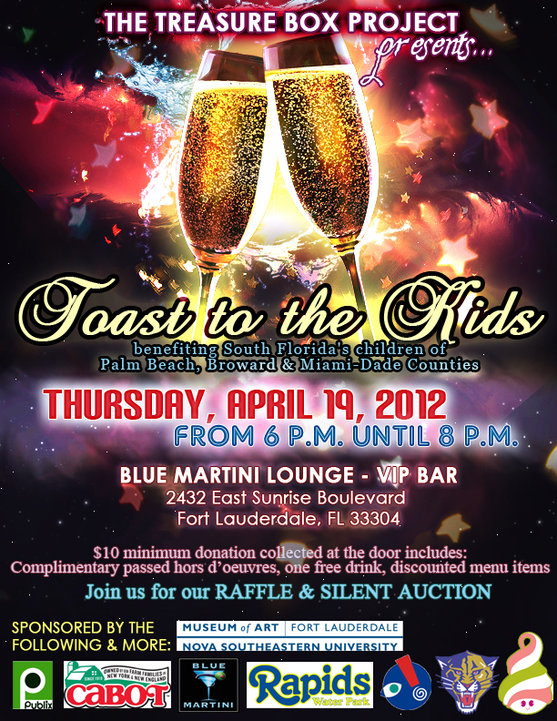 Toast To The Kids April 19th at Blue Martini Fort Lauderdale from 6-8pm
