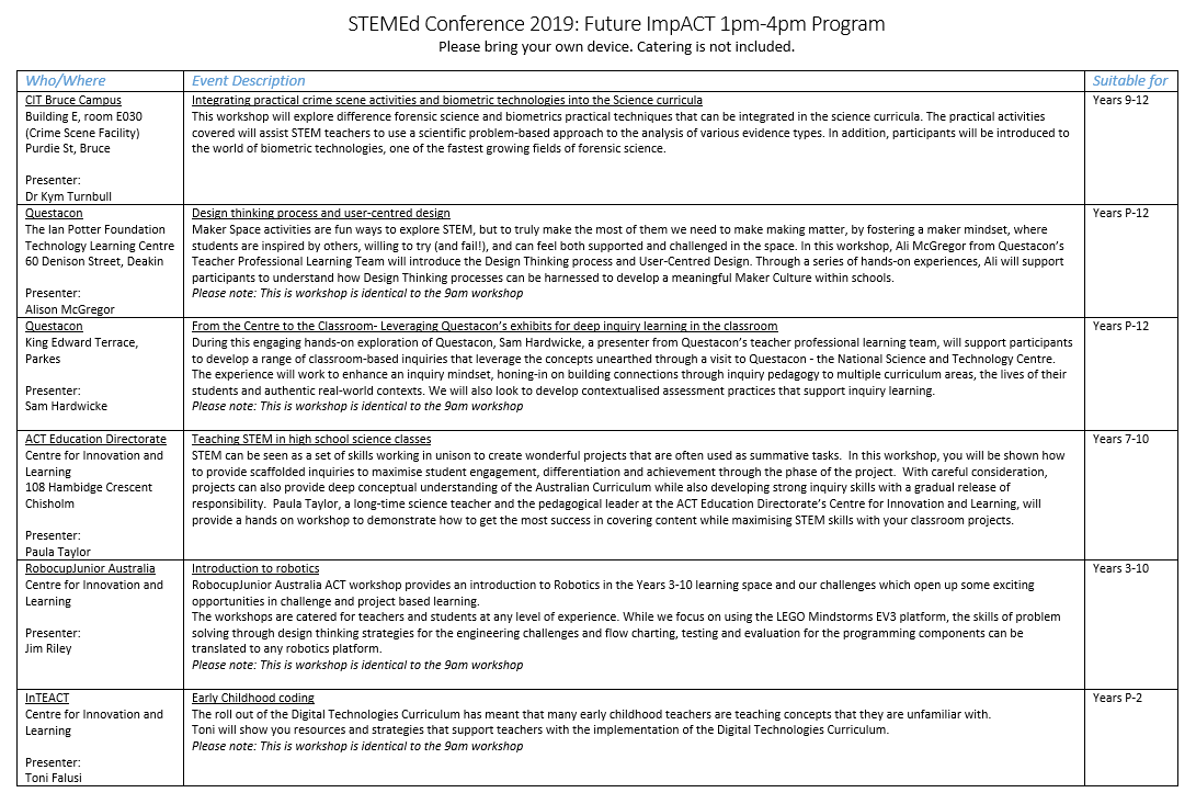 STEMEd Conference Friday Program Page 4