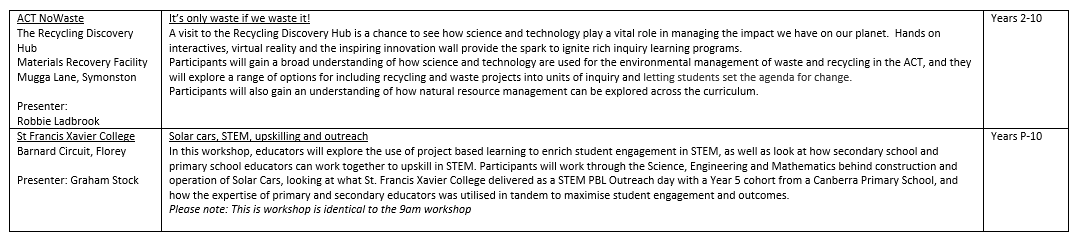STEMEd Conference Friday Workshops 1-4pm Page 6