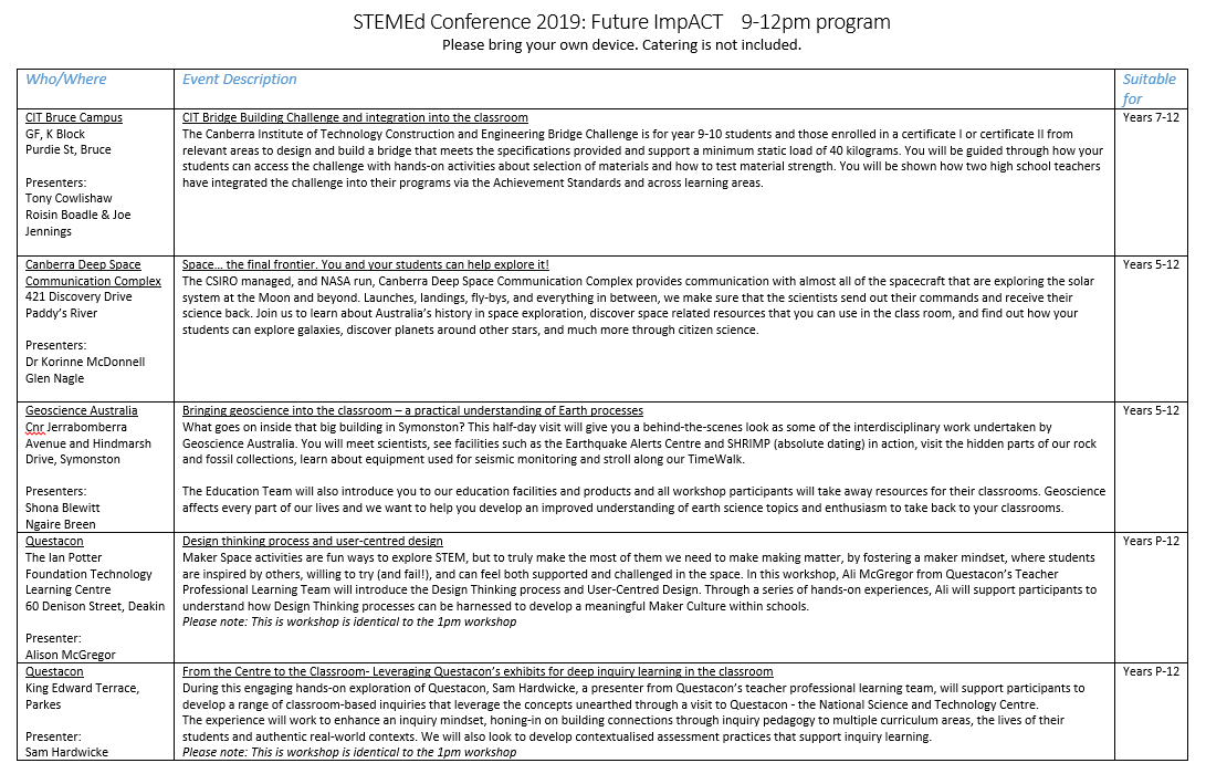 STEMEd Conference Friday Program Page 1