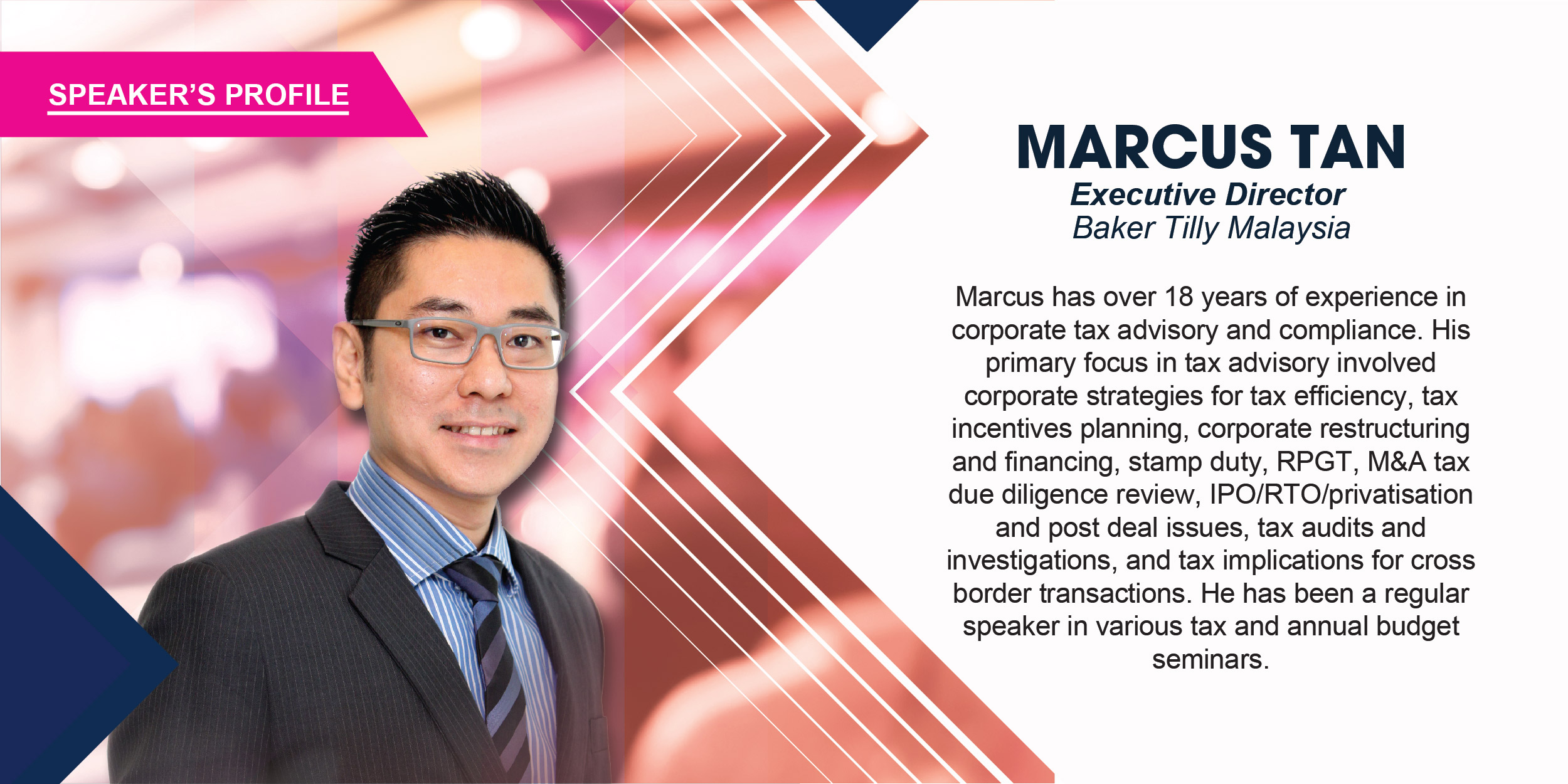 Marcus has over 18 years of experience in corporate tax advisory and compliance. His primary focus in tax advisory involved corporate strategies for tax efficiency, tax incentives planning, corporate restructuring & financing, stamp duty, RPGT, M&A tax due diligence review, IPO/RTO/privatisation and post deal issues, tax audits & investigations, and tax implications for cross border transactions. He has been a regular speaker in various tax and annual budget seminars.