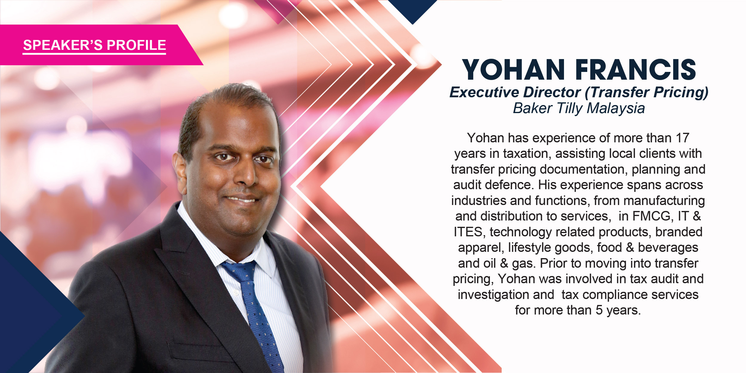 Yohan has experience of more than 17 years in taxation, assisting local clients with transfer pricing documentation, planning and audit defence. His experience spans across industries and functions, from manufacturing and distribution to services, in FMCG, IT & ITES, technology related products, branded apparel, lifestyle goods, food & beverages and oil & gas. Prior to moving into transfer pricing, Yohan was involved in tax audit and investigation and tax compliance services for more than 5 years.