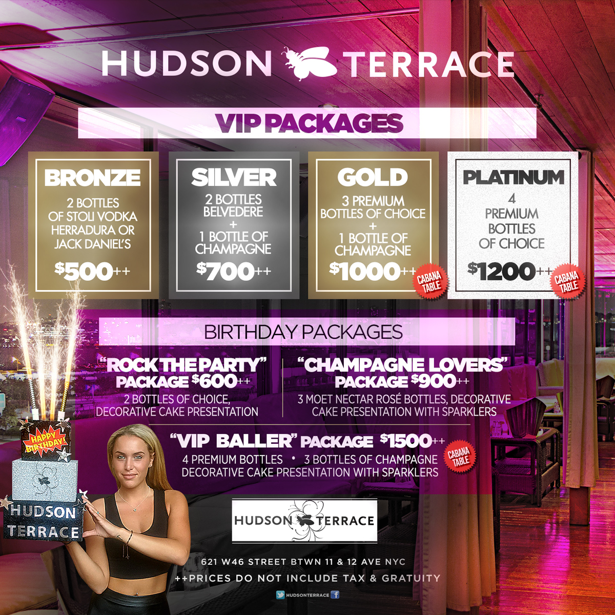 Hudson Terrace Bottle Sertive VIP Tables Birthday Specials