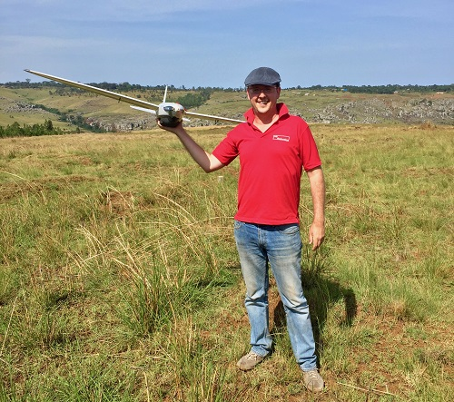 Patrick Meier holds a drone in Northern Tanzania