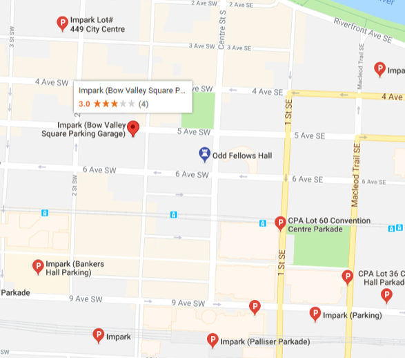 Parking options for the Alberta Nonprofit Innovation Awards