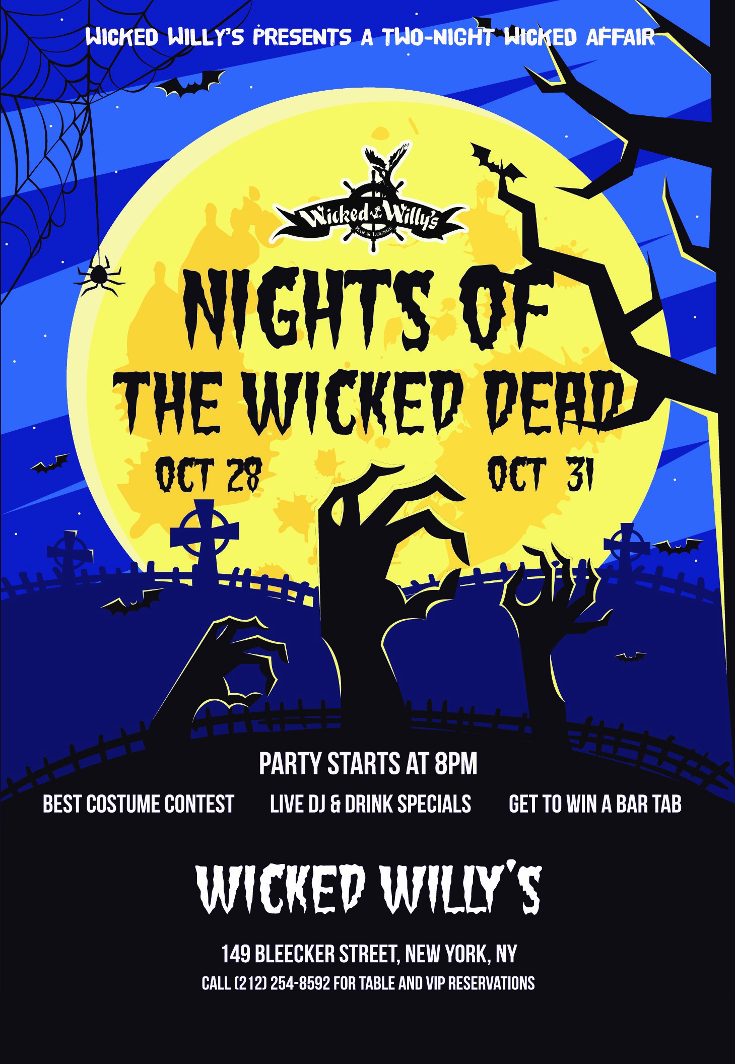 Nights of the Wicked Dead Halloween Parties at Wicked Willy's Poster