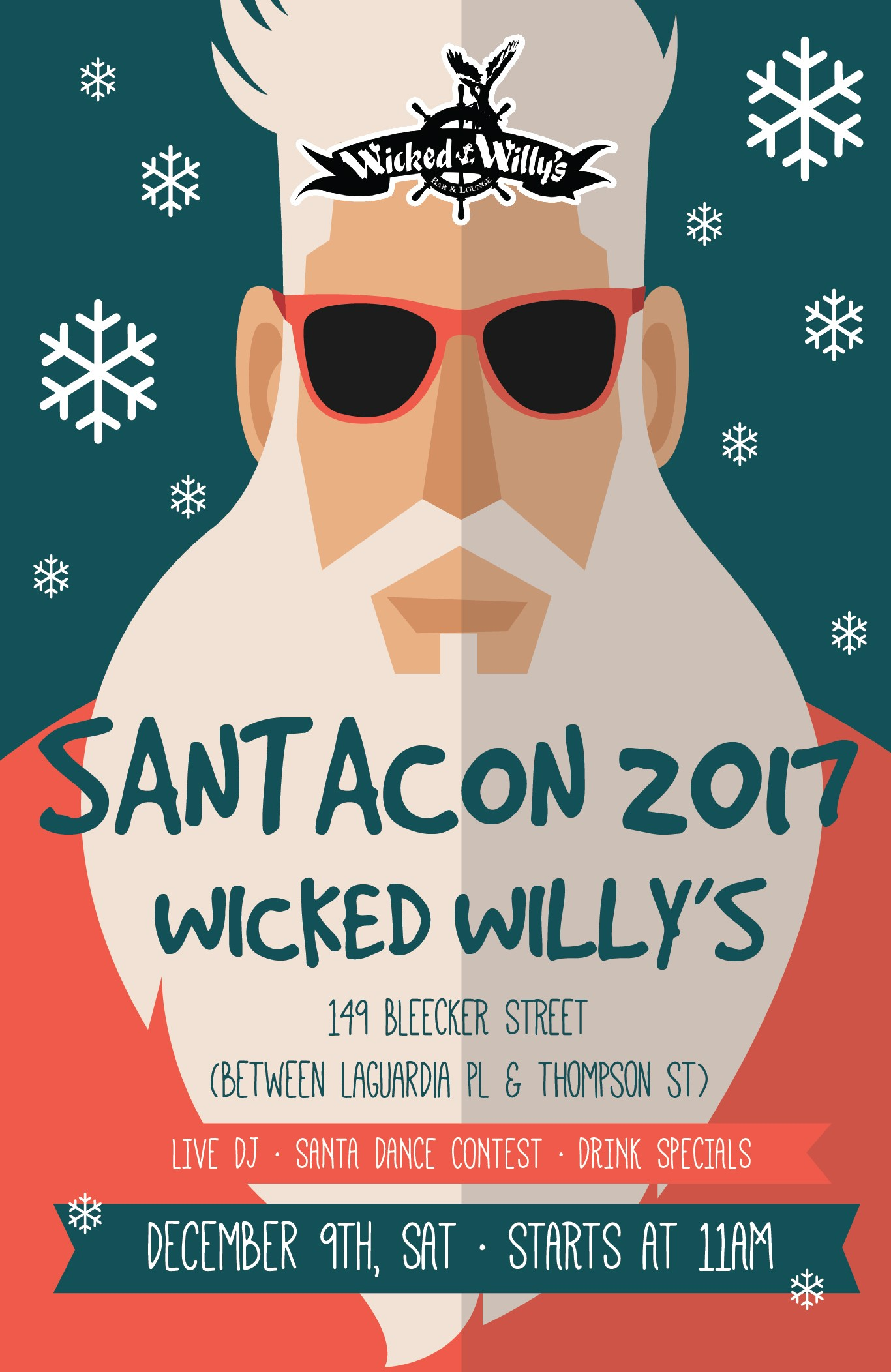 Poster for Santacon 2017 Party at Wicked Willy's