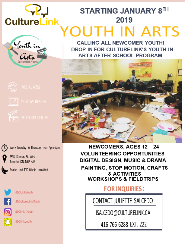 Flyer of Youth in Arts Program
