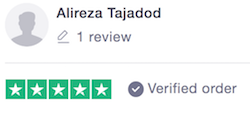 five star review from trustpilot