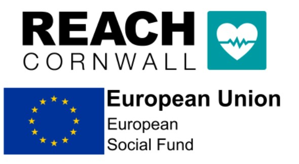Logos for REACH Cornwall and ESF