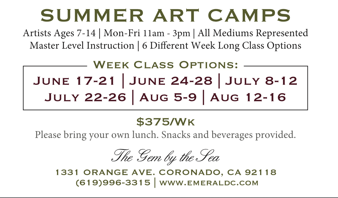 2019 Summer Art Camps at Emerald C Gallery Flyer