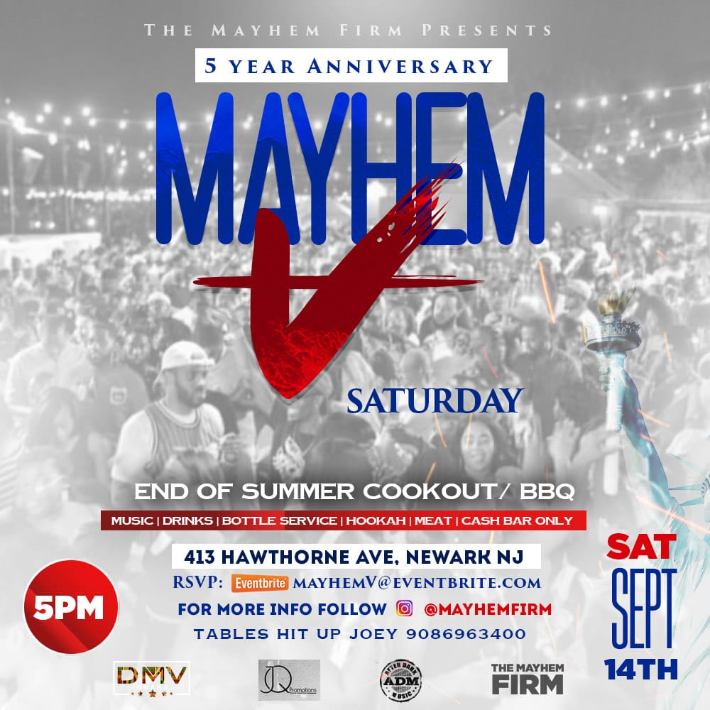 M A Y H E M V END OF SUMMER COOKOUT / BBQ Tickets, Sat, Sep