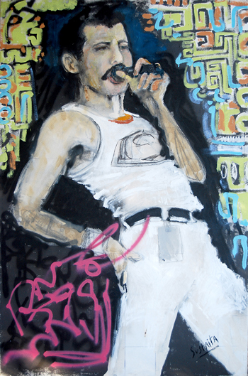 Painting of Freddie Mercury, oil on Canvas, 4' x 5' by Jerrel Sustaita