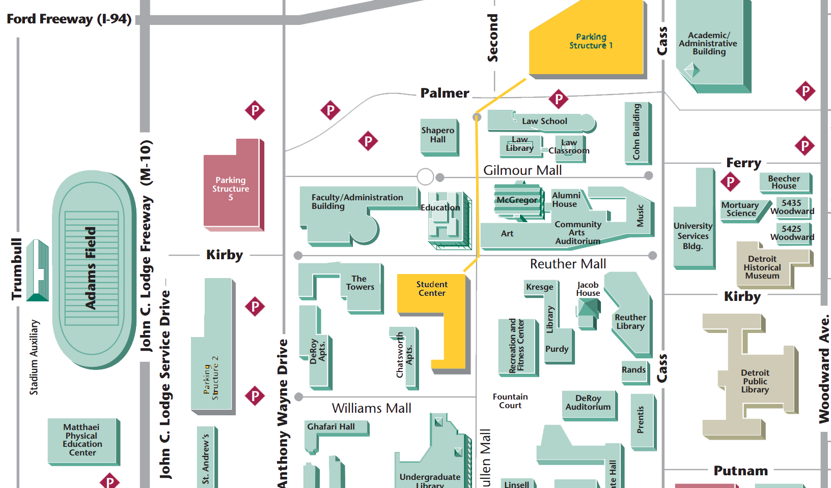 Wayne State University Campus Map - Student Center