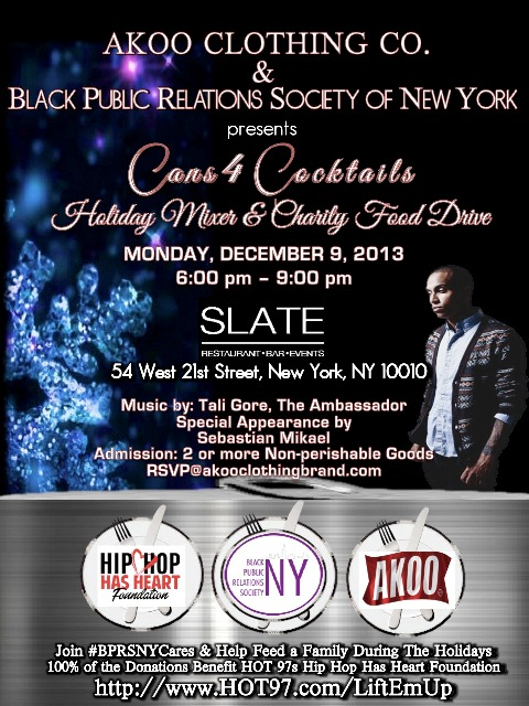 AKOO Clothing Co. & Black Public Relations Society - NY Presents Cans 4 Cocktails Holiday Mixer & Charity Food Drive