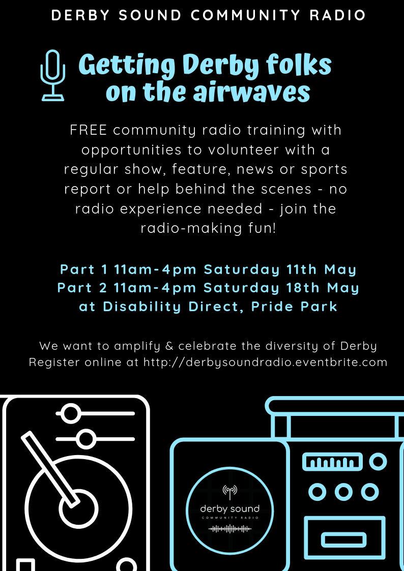 Flyer with details of community radio training and images of radio and microphone
