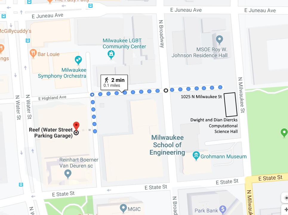 Walking map from 1000 North Water Street Parking Garage