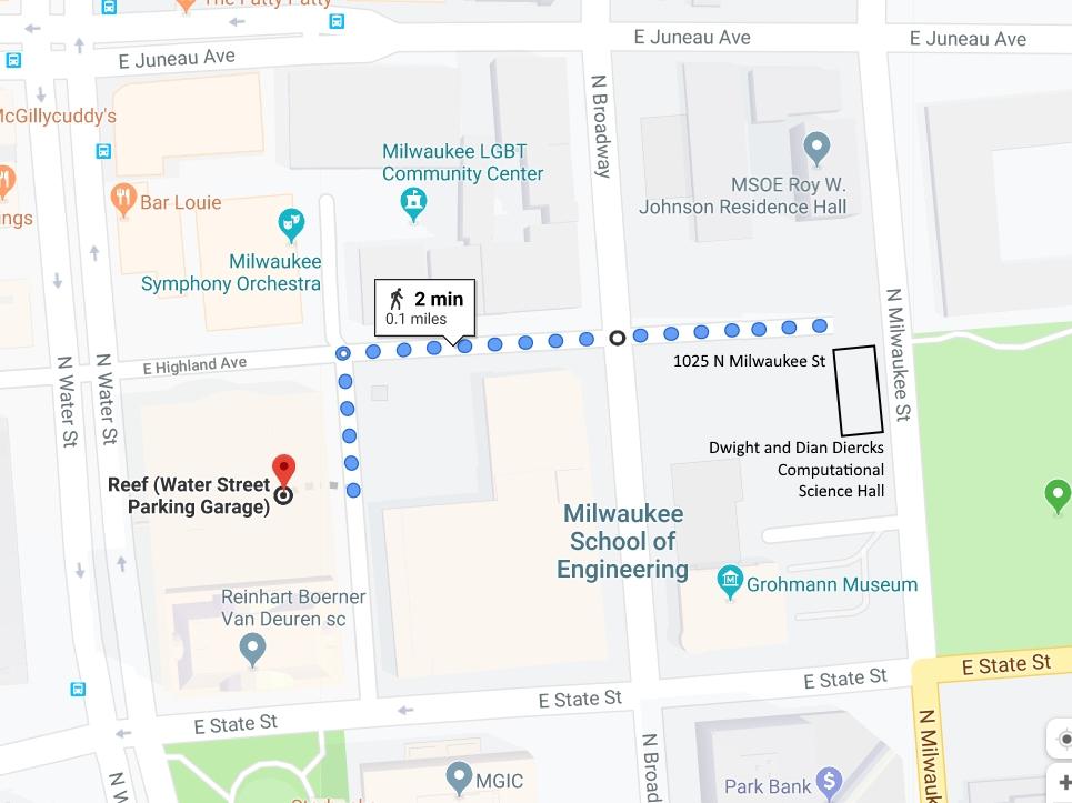 Walking map from 1000 North Water Street Parking Garage