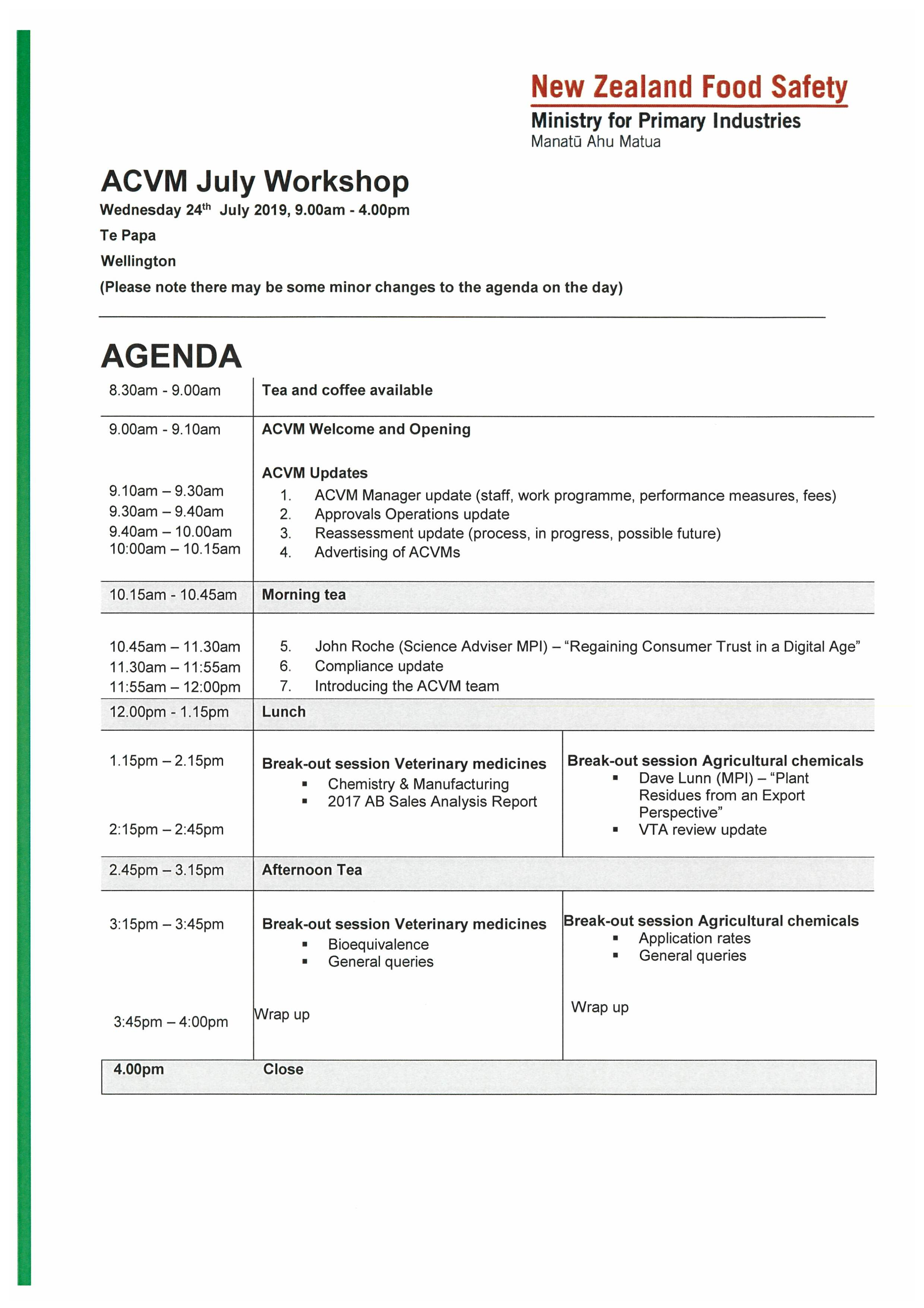 ACVM Workshop Agenda 24 July 2019