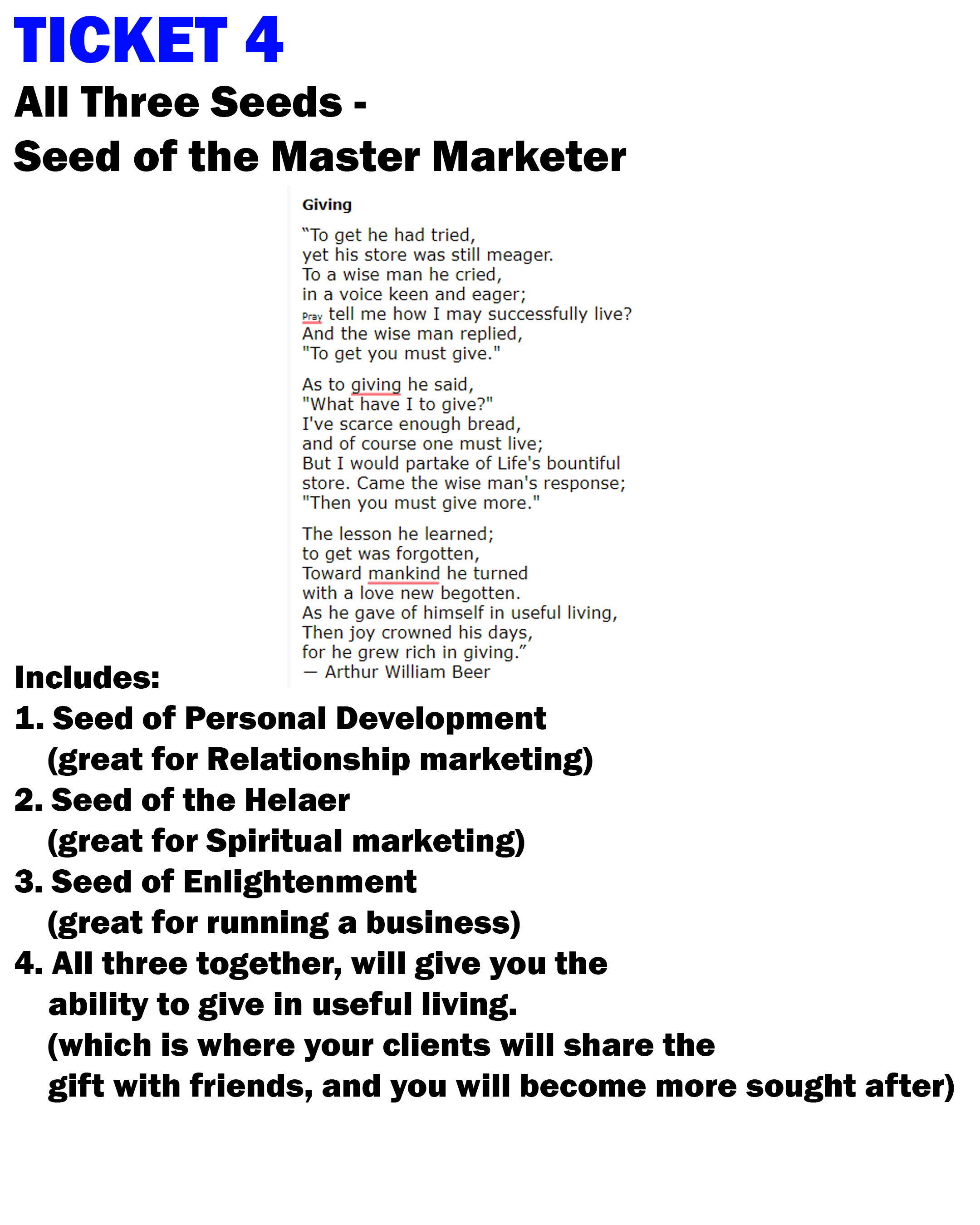 SEED4 Ticket 4 Seed of marketing master