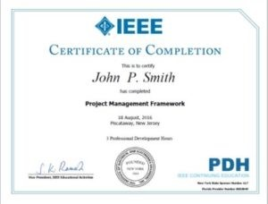 IEEE PDH certificate example