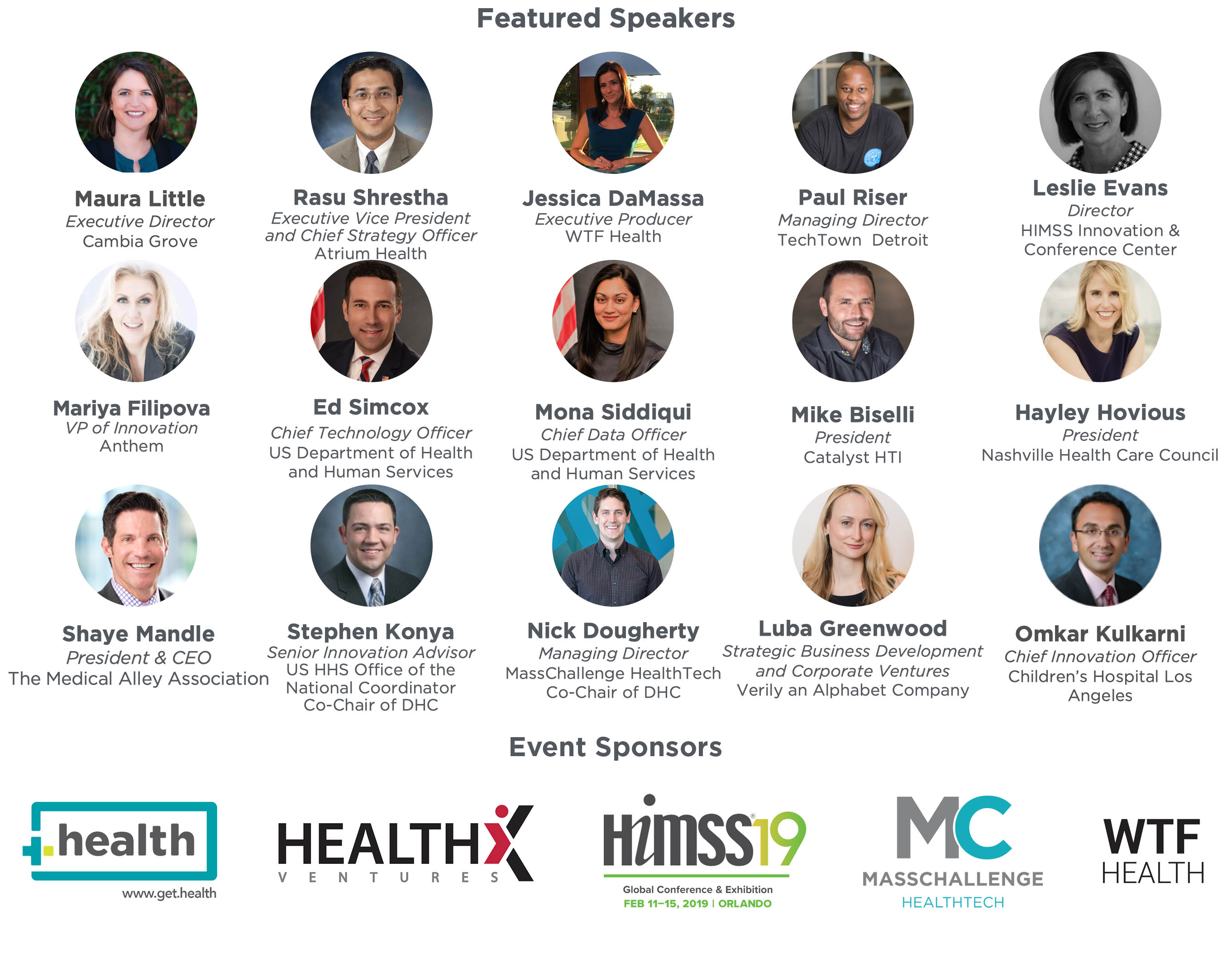 Together.Health Speakers and Sponsors
