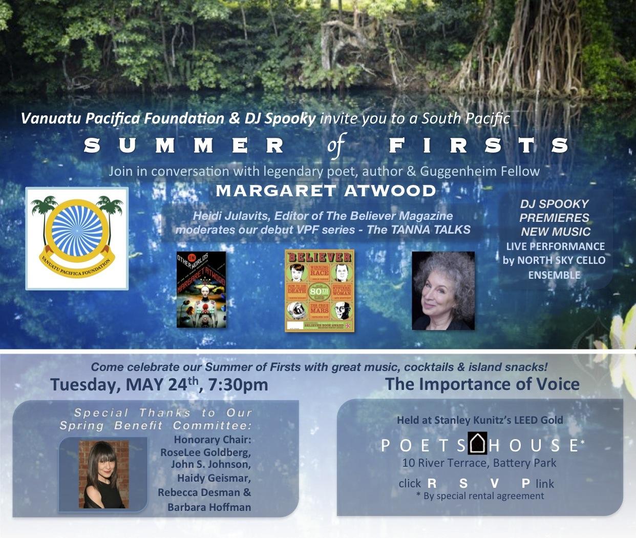 VPF Tanna Talks with Margaret Atwood invitation