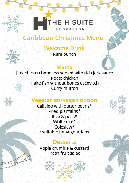 Caribbean Christmas Party Food Menu 2019