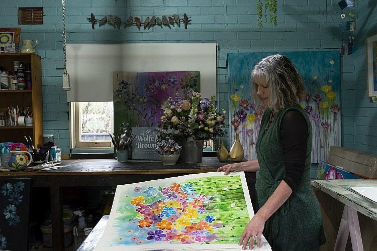 Wolfe & Browne in her studio