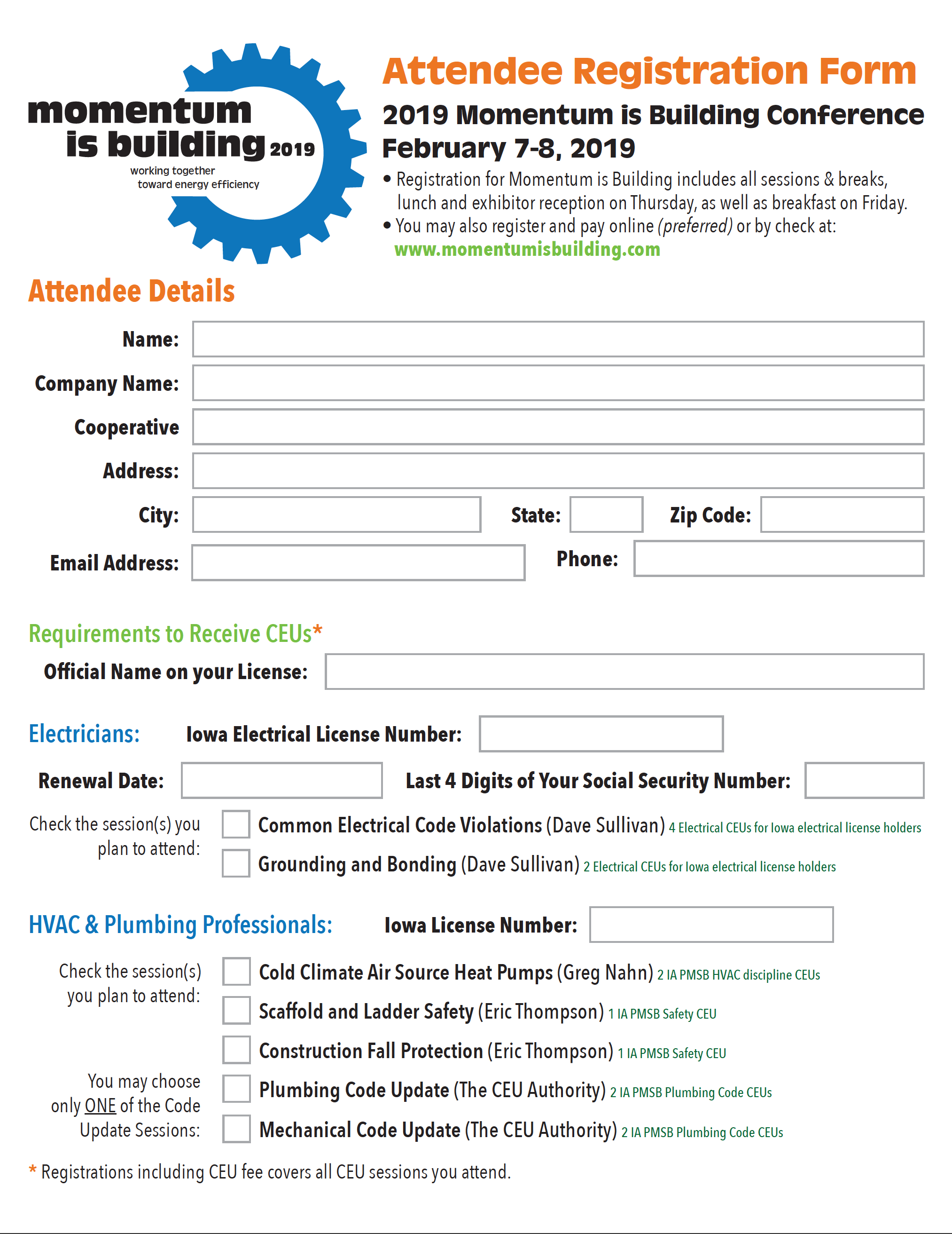 Attendee Registration Form - 2019 Momentum is Building