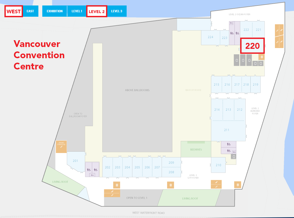 map of Vancouver Convention Centre with room 220 highlighted