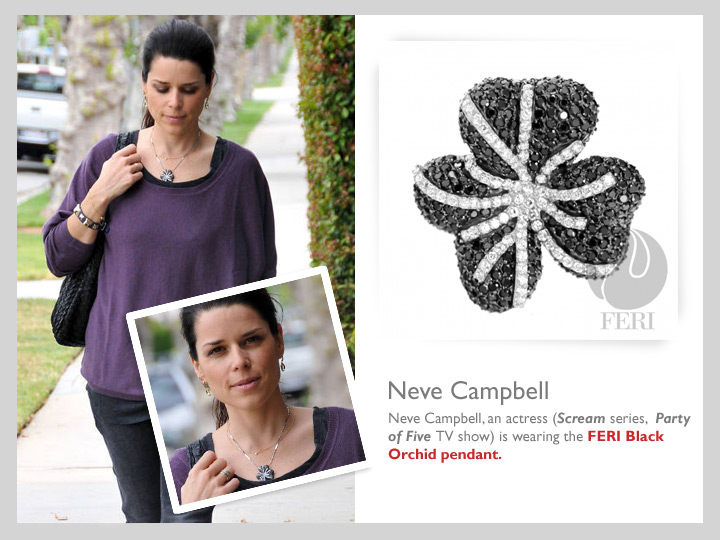 Neve Campbell wearing her FERI Orchid Pendant