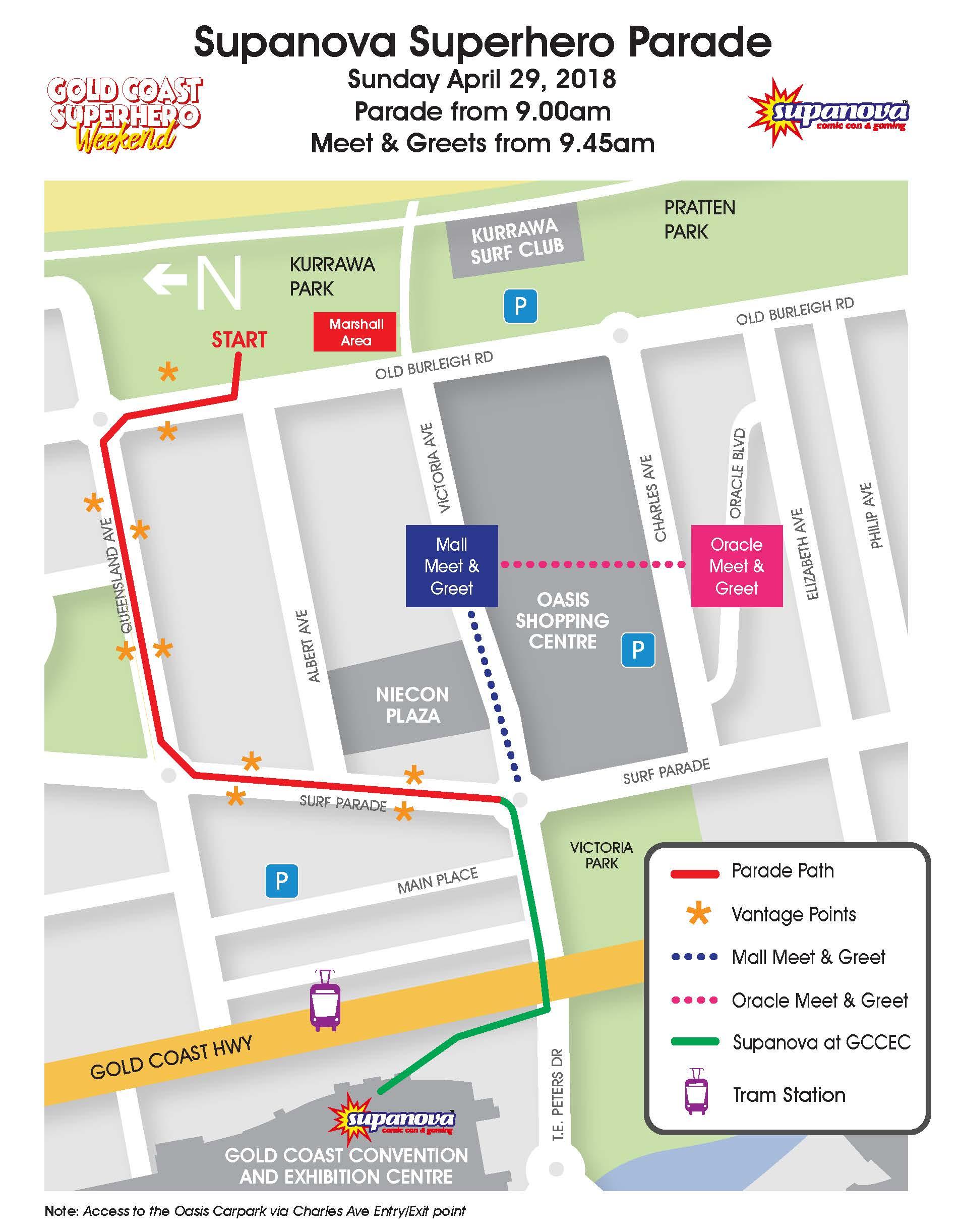 Supanova Superhero Parade 2018 route map