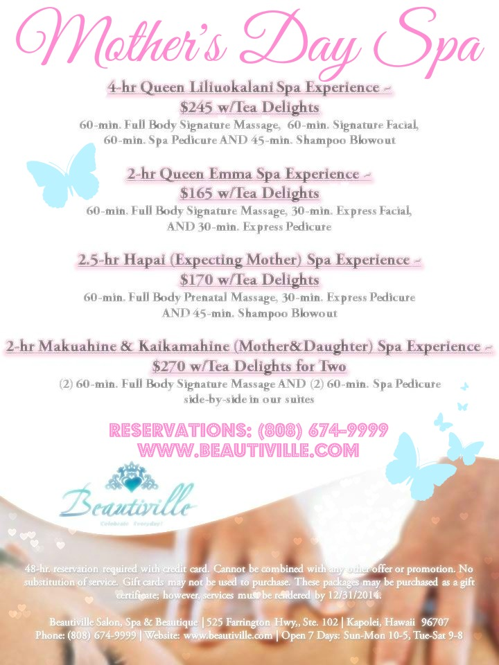 Mother 39 s day 2 hr mother daughter spa experience w tea for 3 day spa