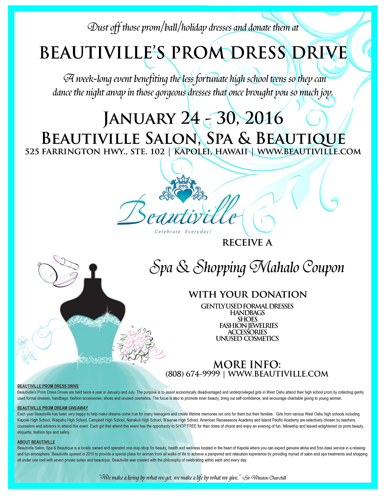 Beautiville Prom Dress Drive - January 2016