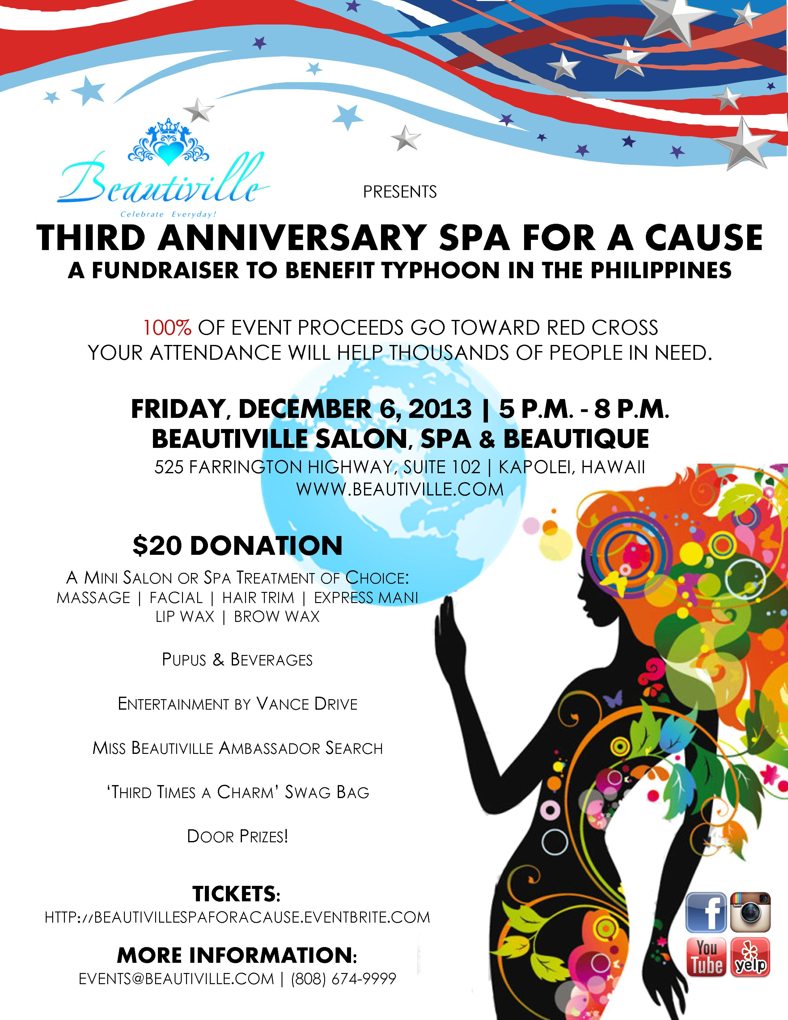 Beautiville Third Anniversary Spa for a Cause Typhoon Philippines Red Cross