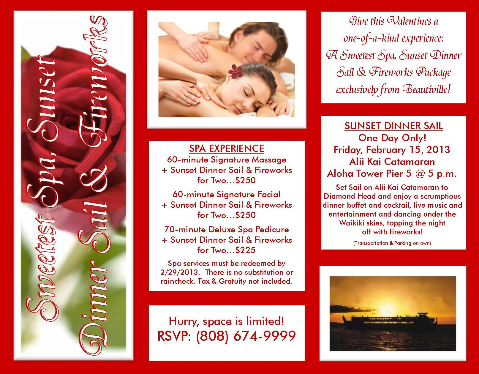 Valentines Sweetest Spa, Sunset Dinner Sail & Fireworks