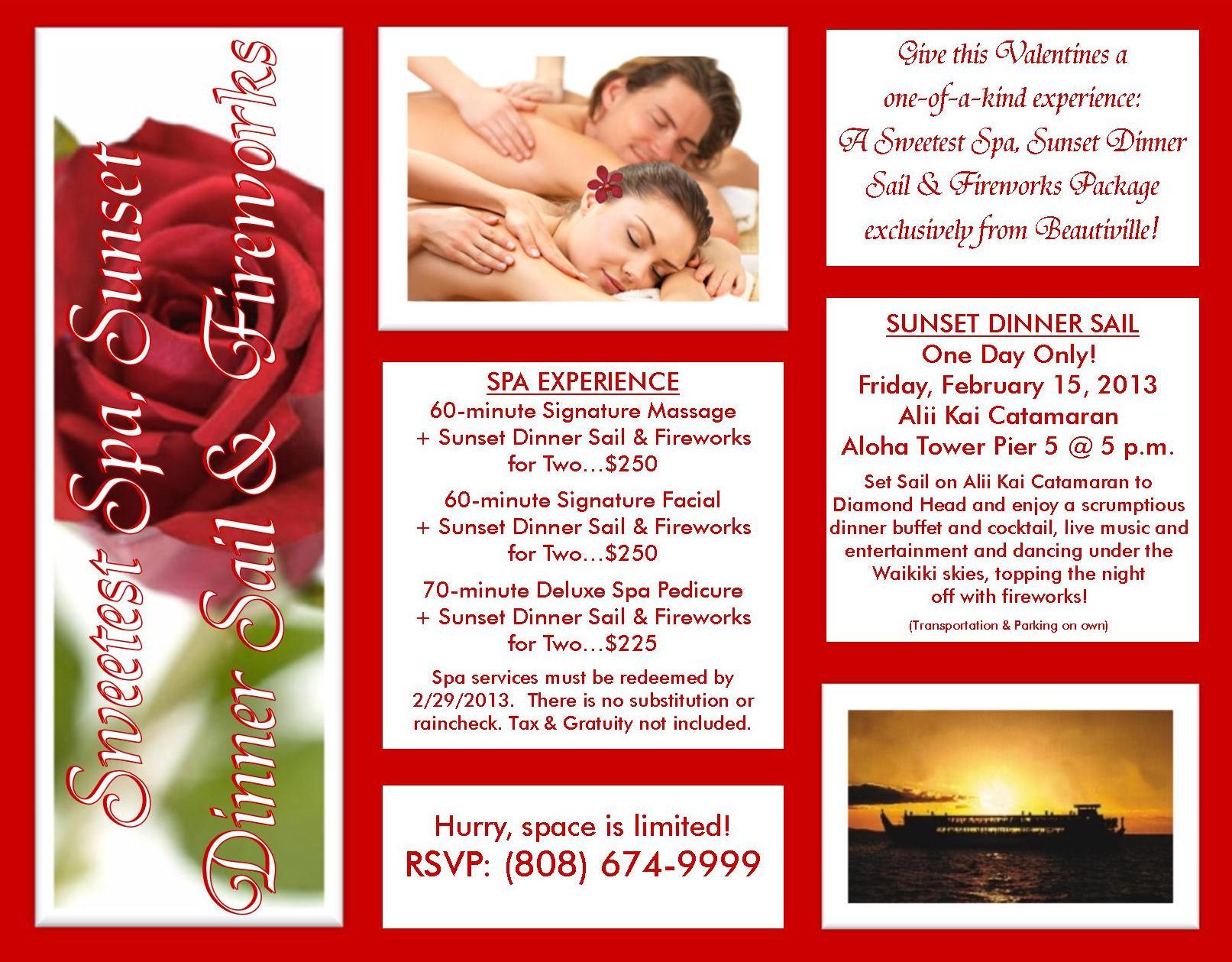 Valentines Sweetest Spa, Sunset Dinner Sail & Fireworks