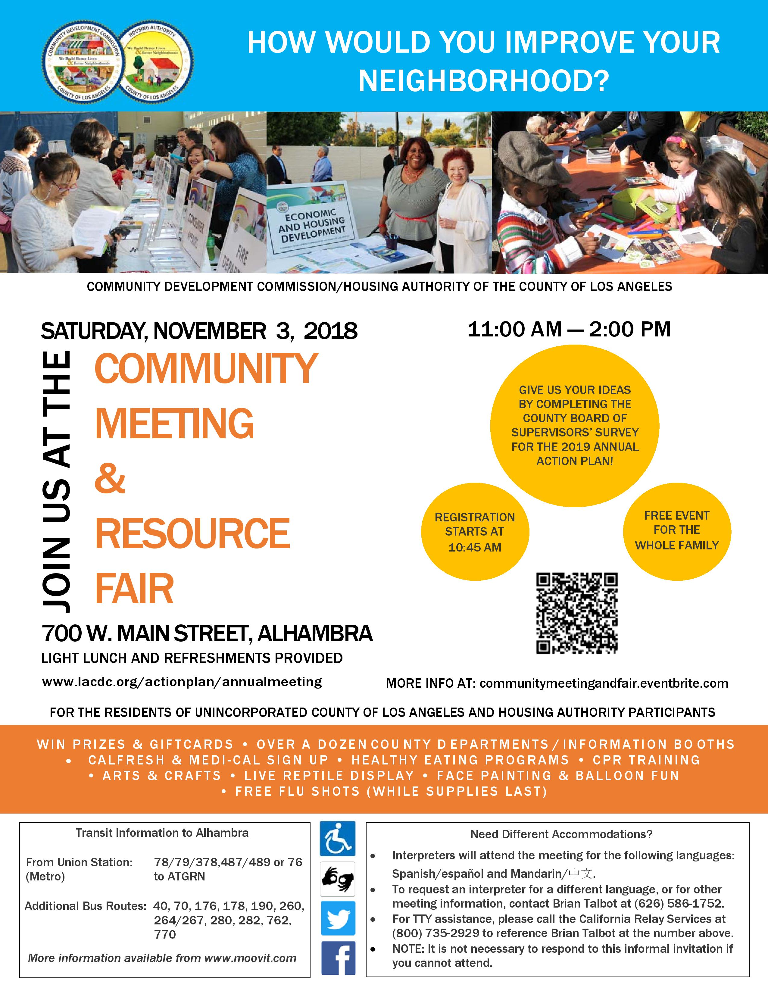 Community Meeting and Resource Fair Flyer