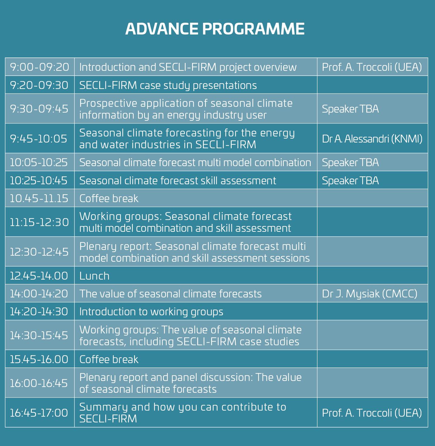 Workshop 2 Advance Programme