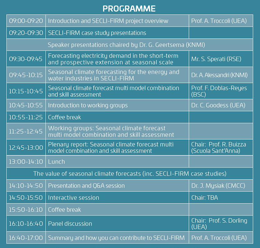 SECLI-FIRM Stakeholder Workshop Programme