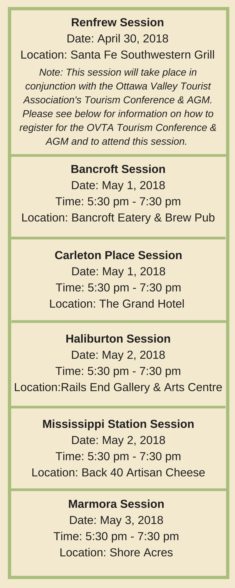 Tourism Stakeholder Session Dates and Locations across Ontario's Highlands