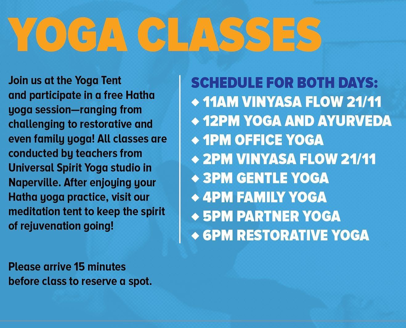 Veggie Fest free Yoga classes