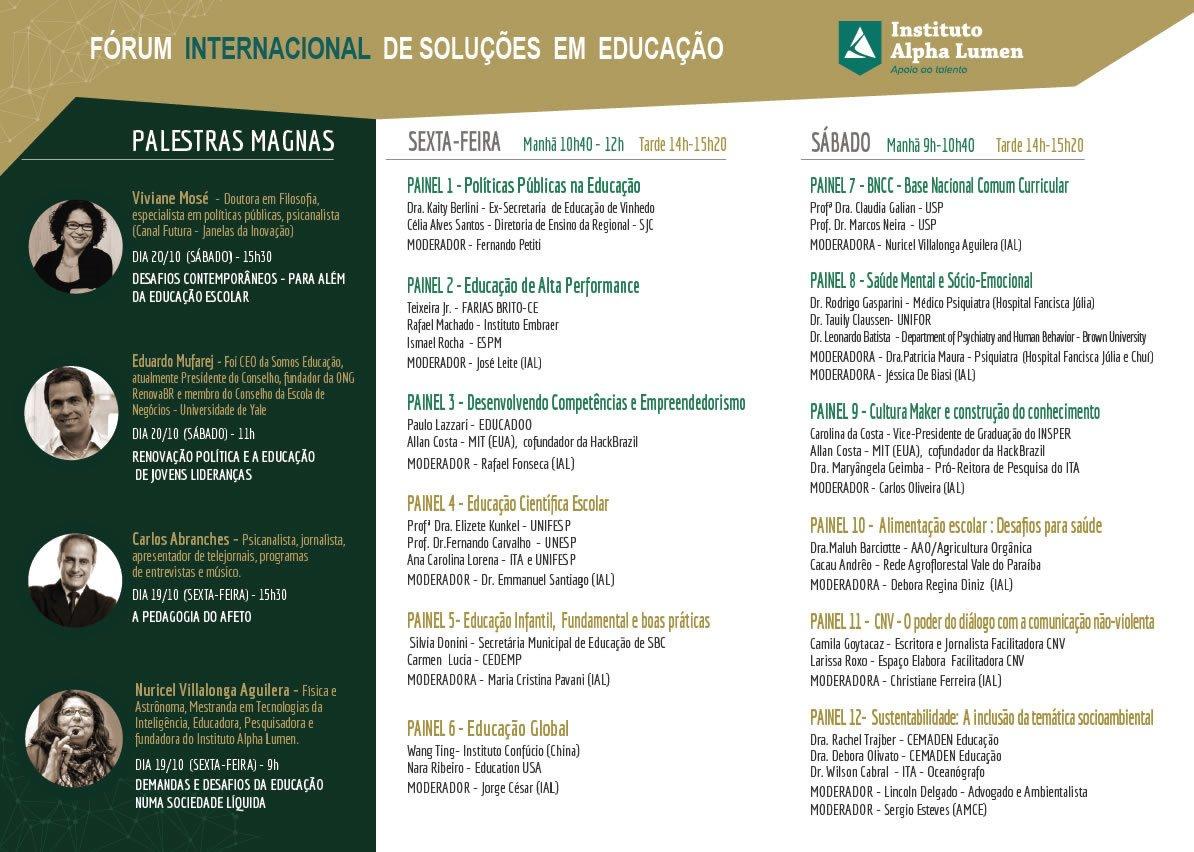 Programação detalhada do Fórum Internacional de Soluções em Educação