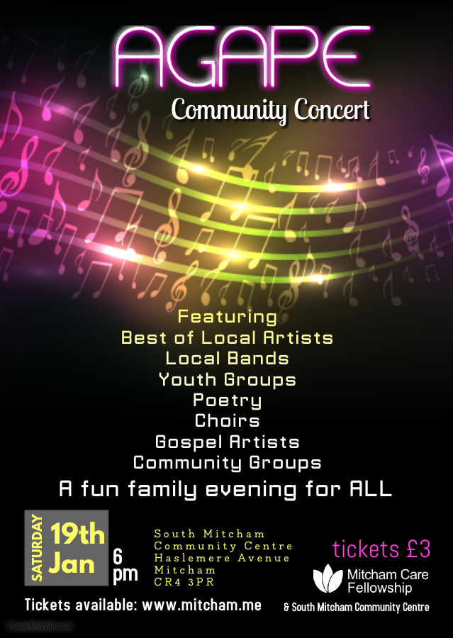 Agape Community Concert Flyer