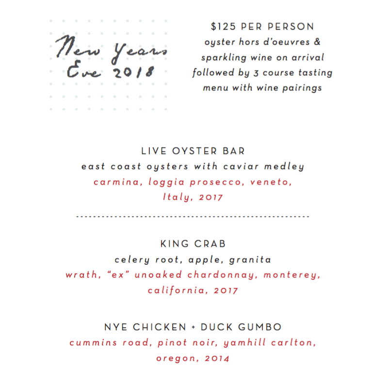 New Years Eve Houston Menu