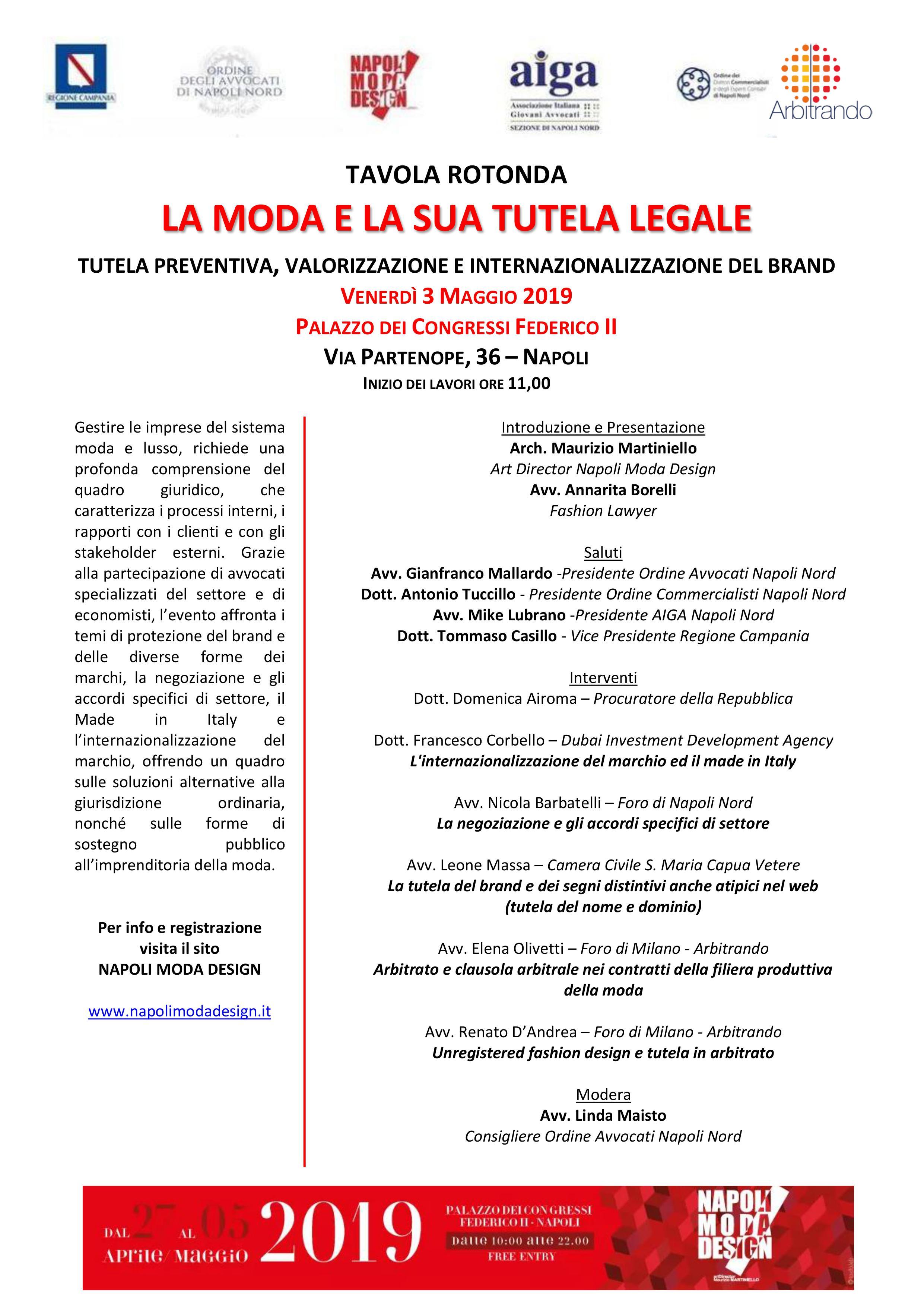 Programma convegno La Moda e la sua tutela legale - Napoli 3 maggio 2019